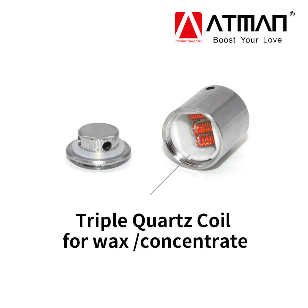 Atman Owar Wax/Dab/Concentrate Vaporizer Pen Triple Quartz Coil Replacement Accossory 2pcs In One Pack