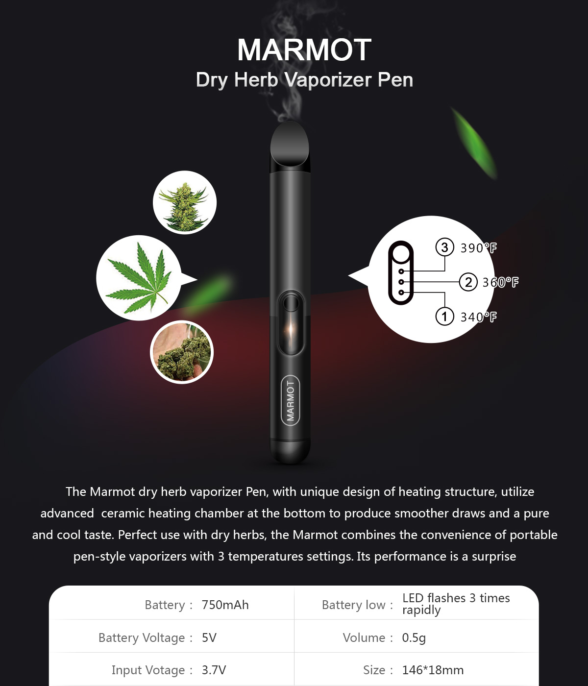 ATMAN Marmot Dry Herb Vaporizer Pen Ceramic Heating With 3 Temperature Settings Pure Taste